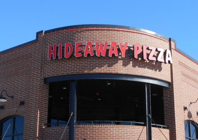 Hideaway Pizza Building Sign